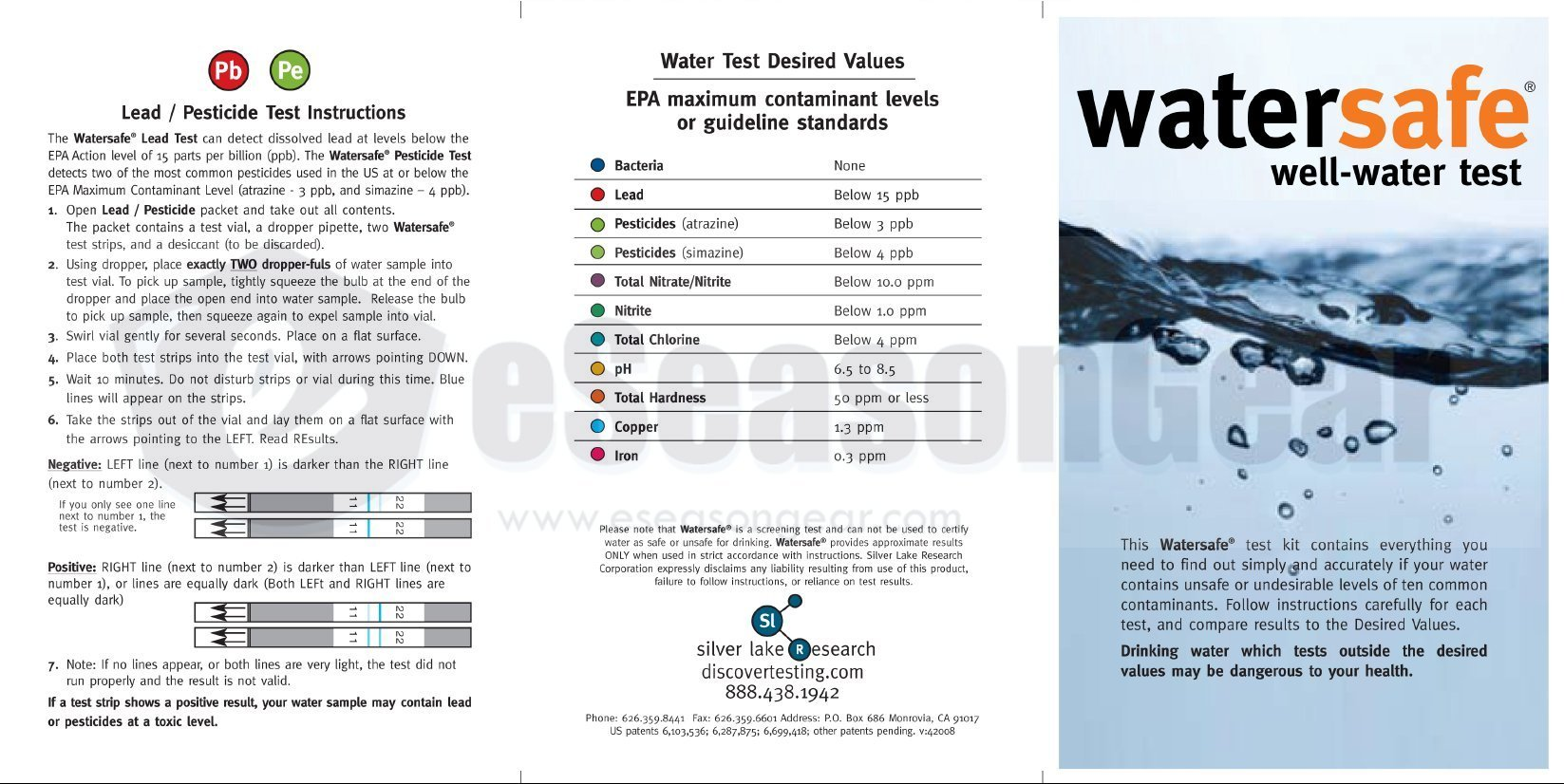 TDSEZ + WS-425W, HMD TDS ppm Meter + Watersafe Well Drinking Water Test Kit, Bacteria, Lead, Pesticide, Nitrate / Nitrite, pH, Hardness, Chlorine, Copper, Iron by HM Digital (Image #2)
