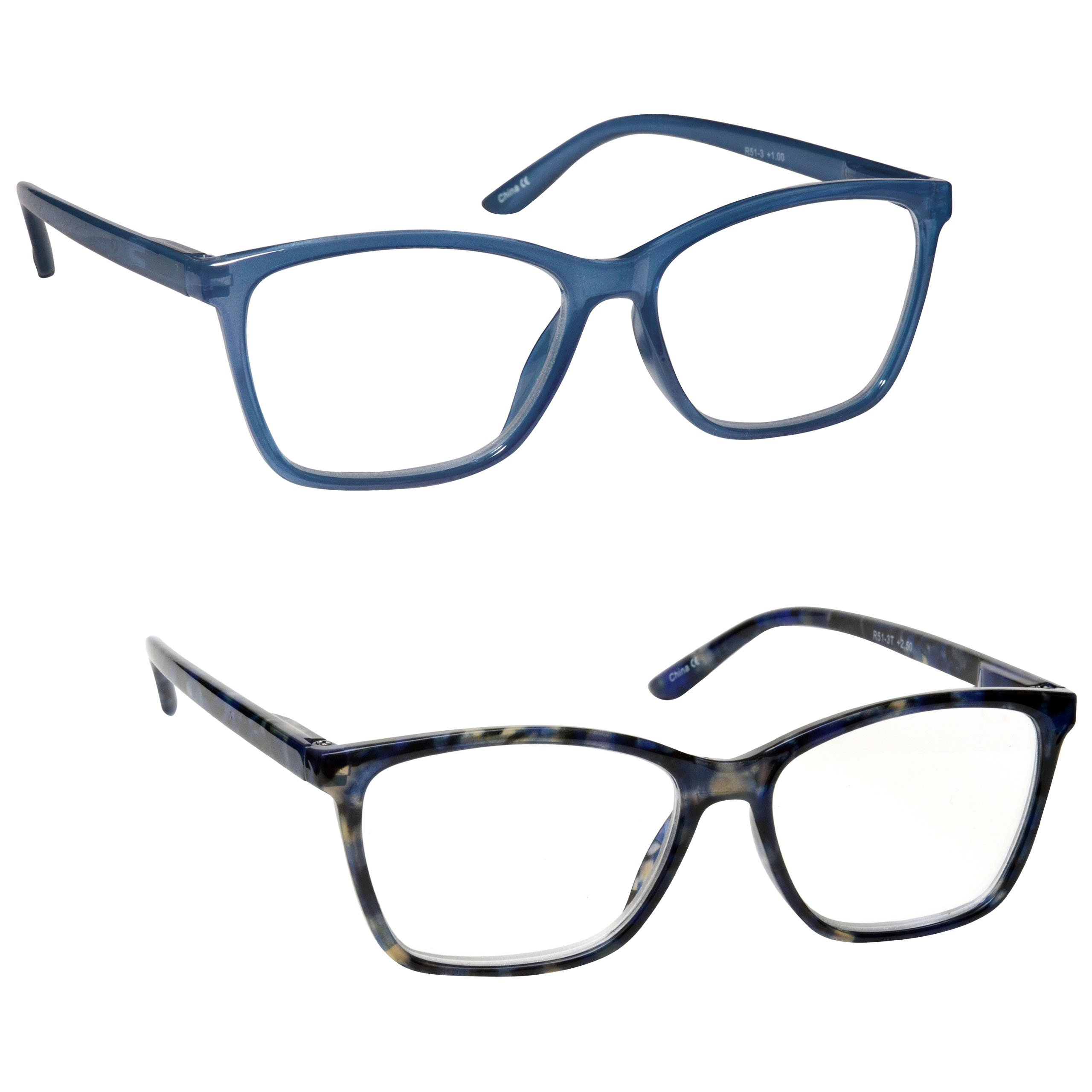 The Reading Glasses Company Bright Blue & Blue Tortoiseshell Readers 2 Pack Large Mens Womens Inc Bag RR51-33T +2.50 by The Reading Glasses Company