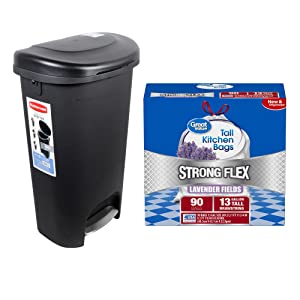 Rubbermaid Premium Step-On Trash Can 13-Gal in Black with Metal Accent bundle with Great Value Strong Flex Tall Kitchen Drawstring Trash Bags in Lavender Fields, 13-Gallon, 90 Count