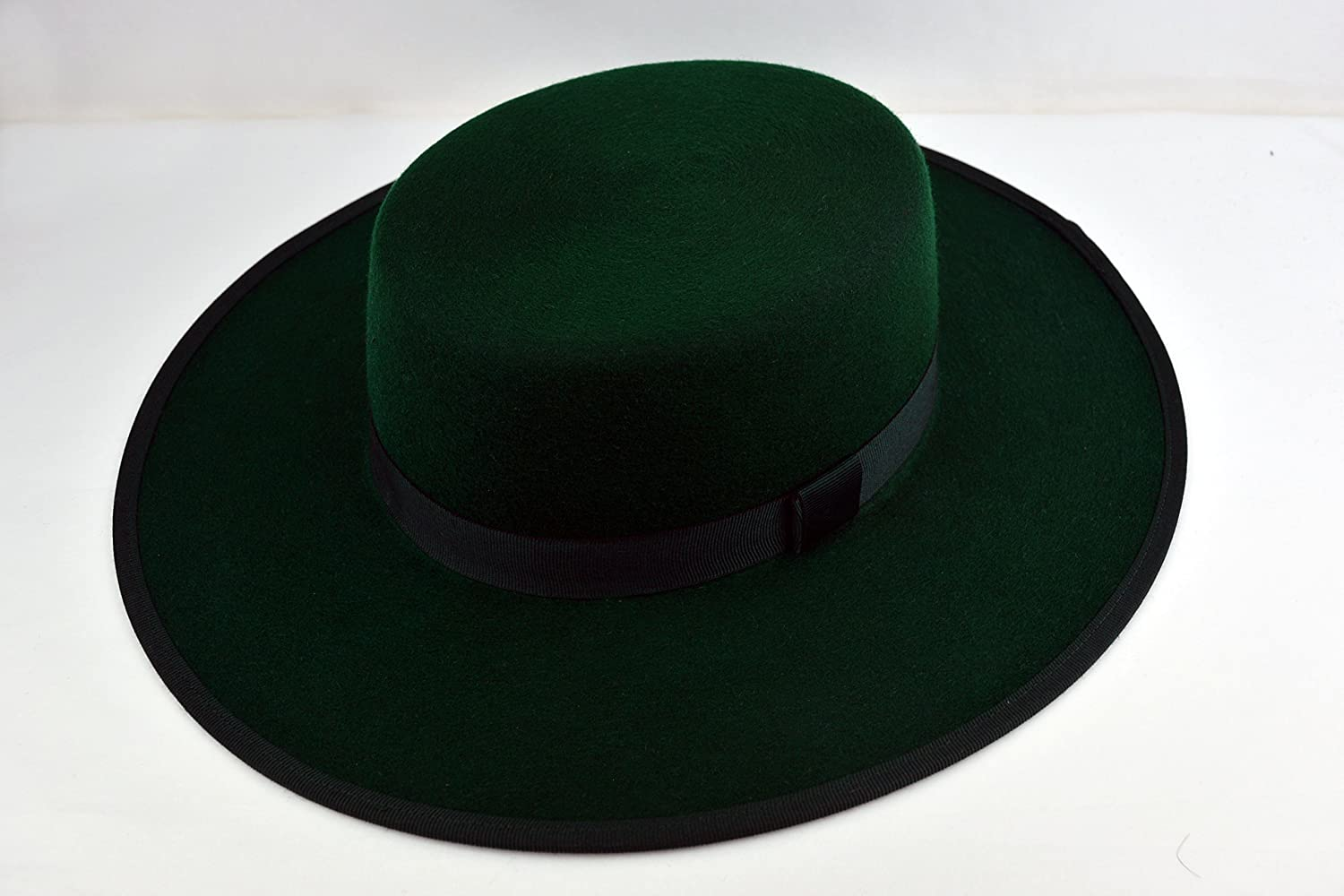 The Emerald - Emerald Green Wool Felt Flat Crown Bolero Hat - Wide Brim -  Men larger image 9f76b5405709