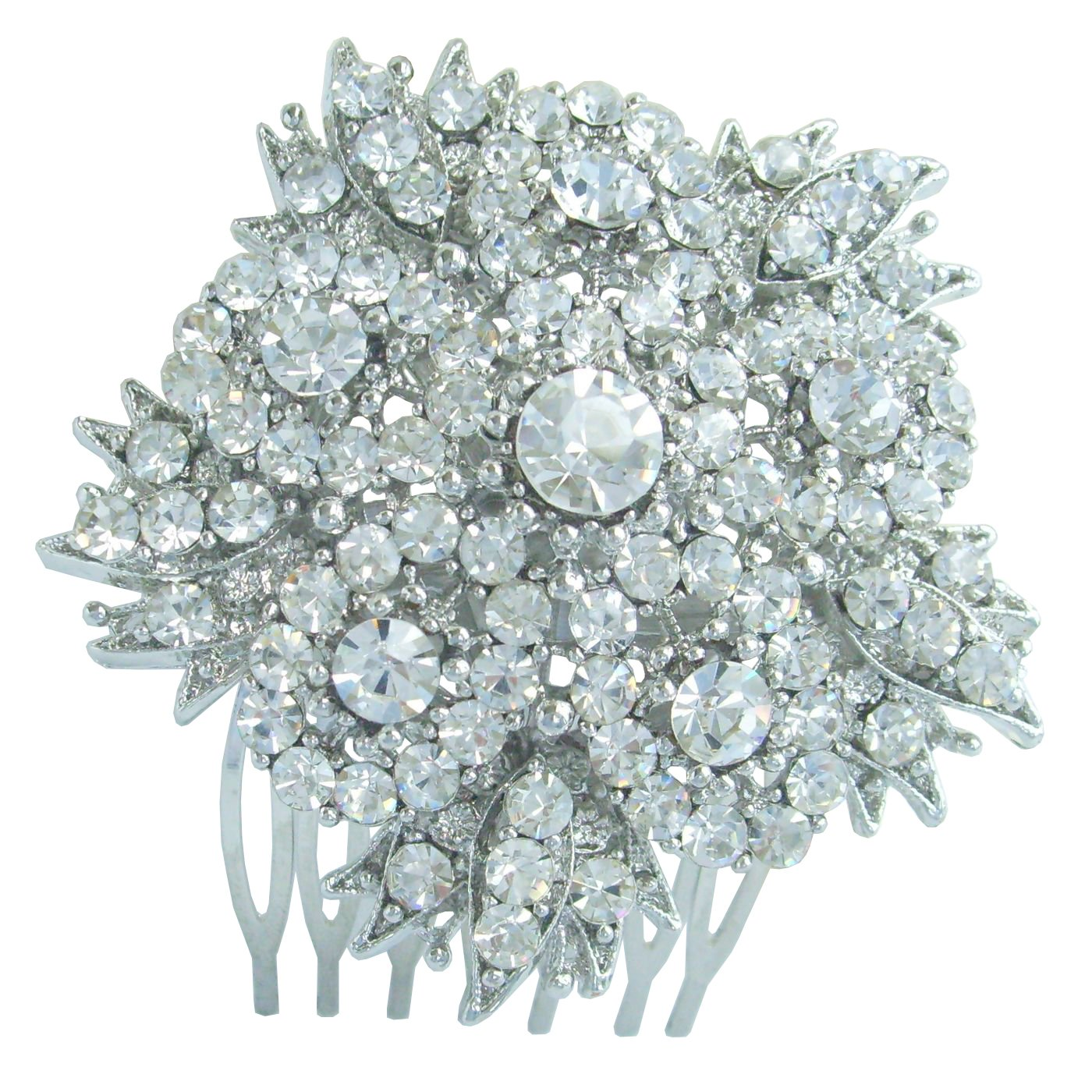 Sindary Bridal Headpiece 2.56'' Wedding Flower Hair Comb Silver Tone Clear Rhinestone Crystal HZ3814