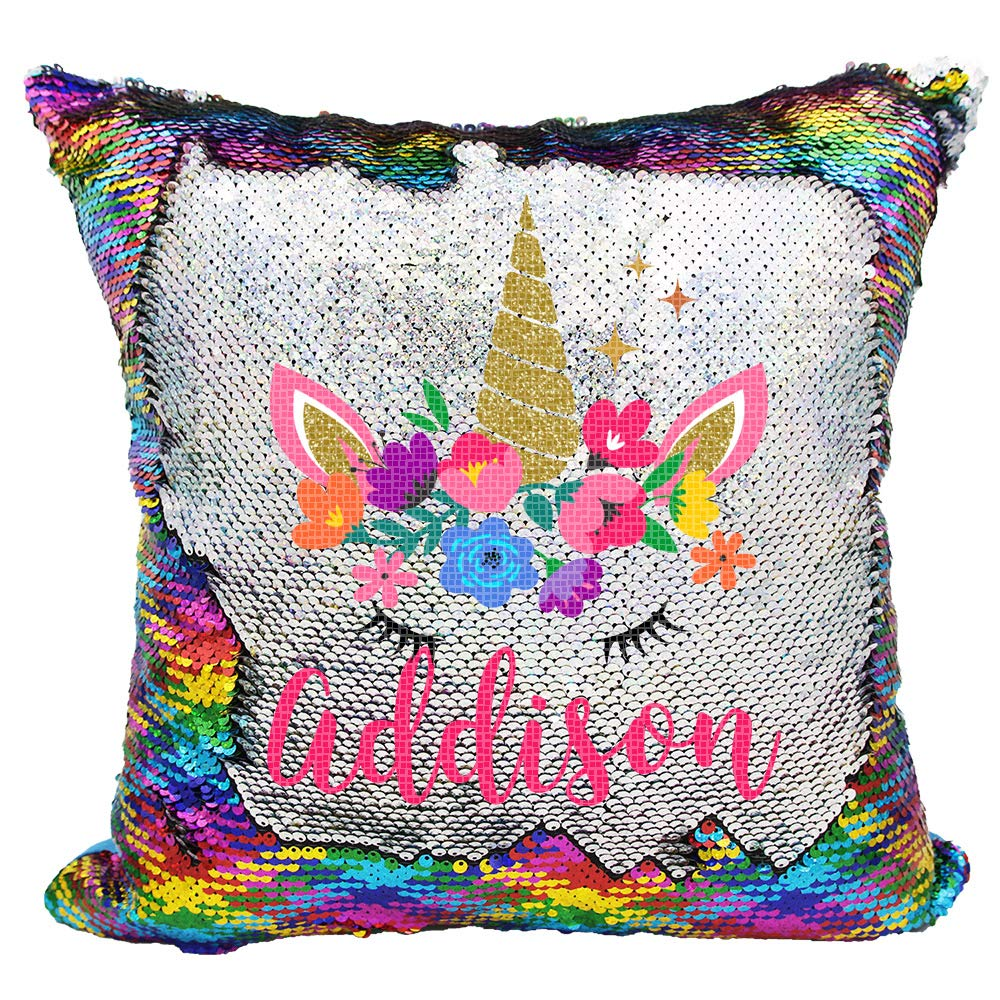 Personalized Mermaid Reversible Sequin Pillow, Custom Unicorn Sequin Pillow for Girls (Rainbow/Silver)