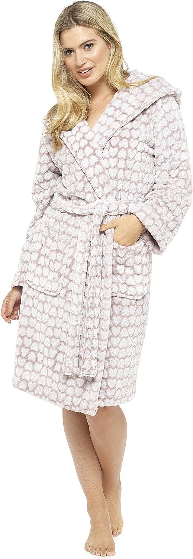 Foxbury Ladies Heart Embossed Hooded Robe Dressing Gown