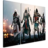 Picture - ART ON CANVAS PRINT Assassins_Creed_36 3 parts ( 47 x 35 inches ) Pictures completely framed on large frame. Art print Images realised as wall picture on real wooden framework. A canvas picture is much less expensive than an oil painting poster or placard
