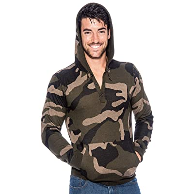 9 Crowns TR Men's Hooded Camo Sweater Essentials at Men's Clothing store