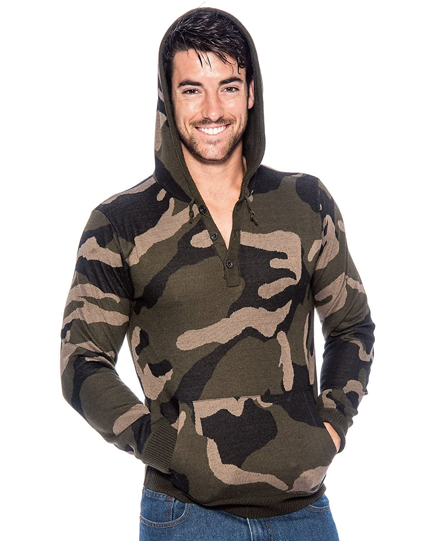 9 Crowns TR Men's Hooded Camo Sweater Essentials