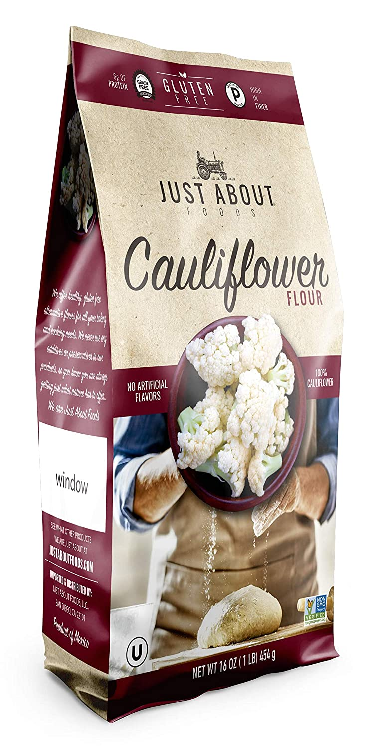 Just About Foods Cauliflower flour 1 lb. (454g) Waffles, Biscuits, Brownies and Breads Paleo Friendly Gluten Free Good Source Of Protein Pack of 1