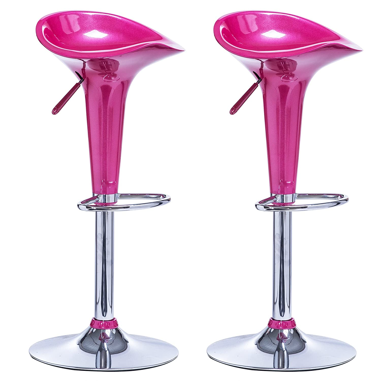 WOLTU BH25rs-2 Sgabelli da Bar Sedia cucina con schienale Poggiapiedi Plastica Cromato Altezza Regolabile Girevole Moderni Classici Rosa Coppia 2 Pezzi