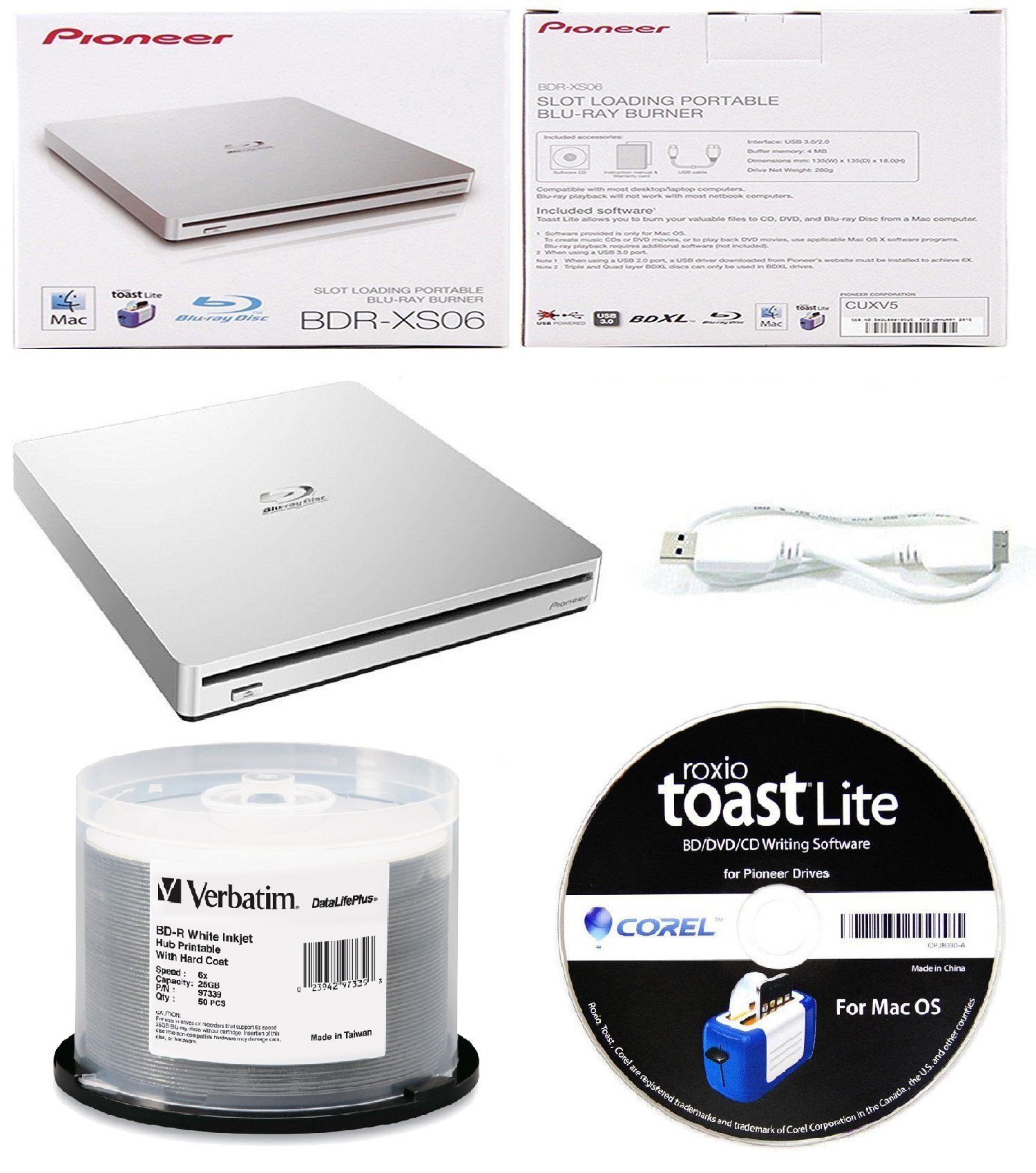 Pioneer 6x BDR-XS06 Slim Slot Portable External Blu-ray BDXL Burner, Roxio Toast Lite Software and USB Cable Bundle with 50pk BD-R Verbatim 25GB 6X DataLifePlus White Inkjet, Hub Printable
