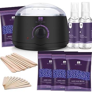 Amazon Com Blitzwax Waxing Kit Hair Removal Wax Warmer Kit With