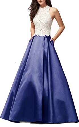 Ladsen 2018 High Neck Lace Ball Gown Prom Dresses Backless Long Homecoming Gowns Navy Blue US16