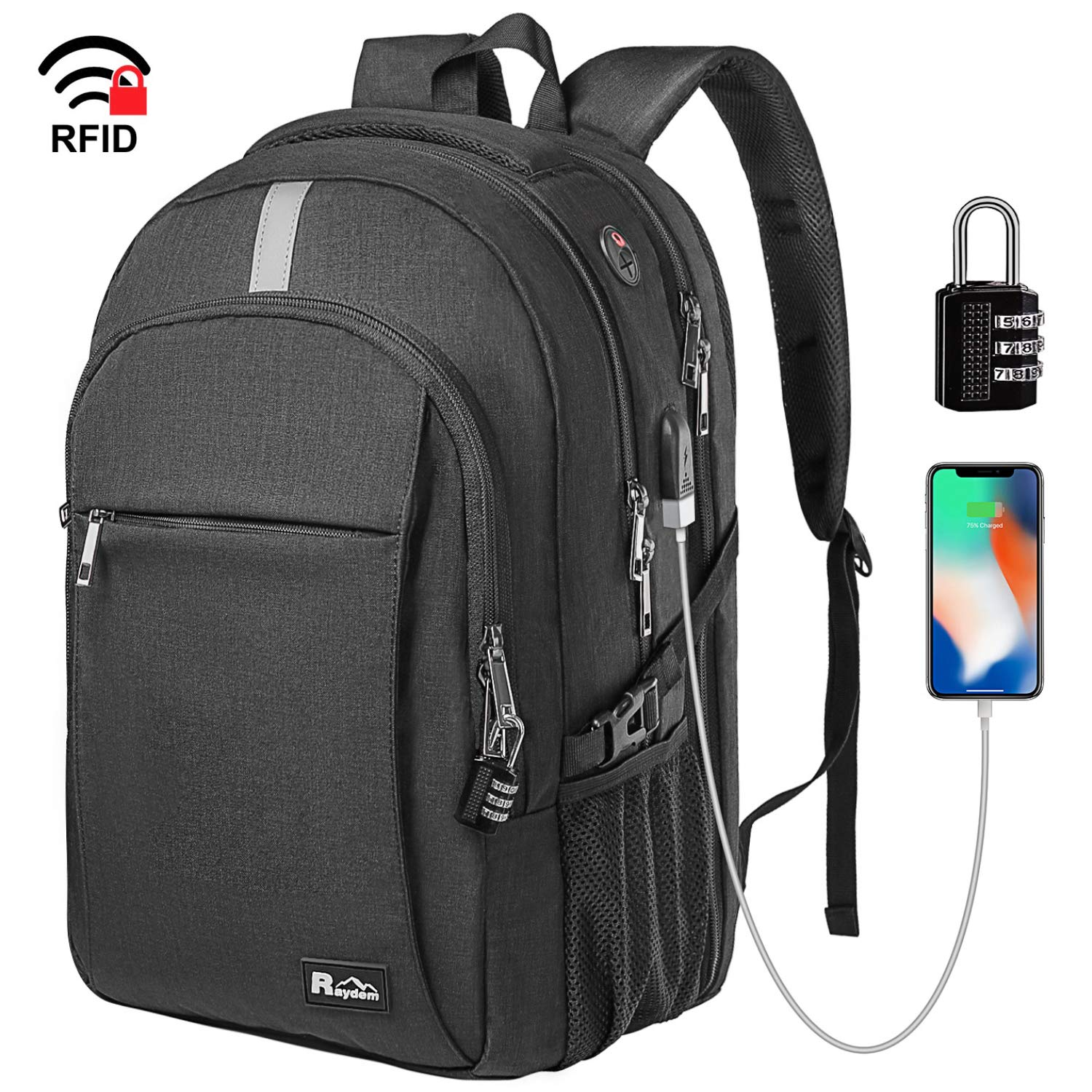 Raydem Business Laptop Backpack, Extra Large TSA Friendly Durable Anti-Theft Travel Backpack with USB Charging Port, Water Resistant College School Computer Bag for Women & Men Fits 15.6'' Laptop by Raydem