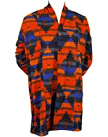 Colorful Aztec Print Long Cardigan Sweater Wrap - Rust and Blue