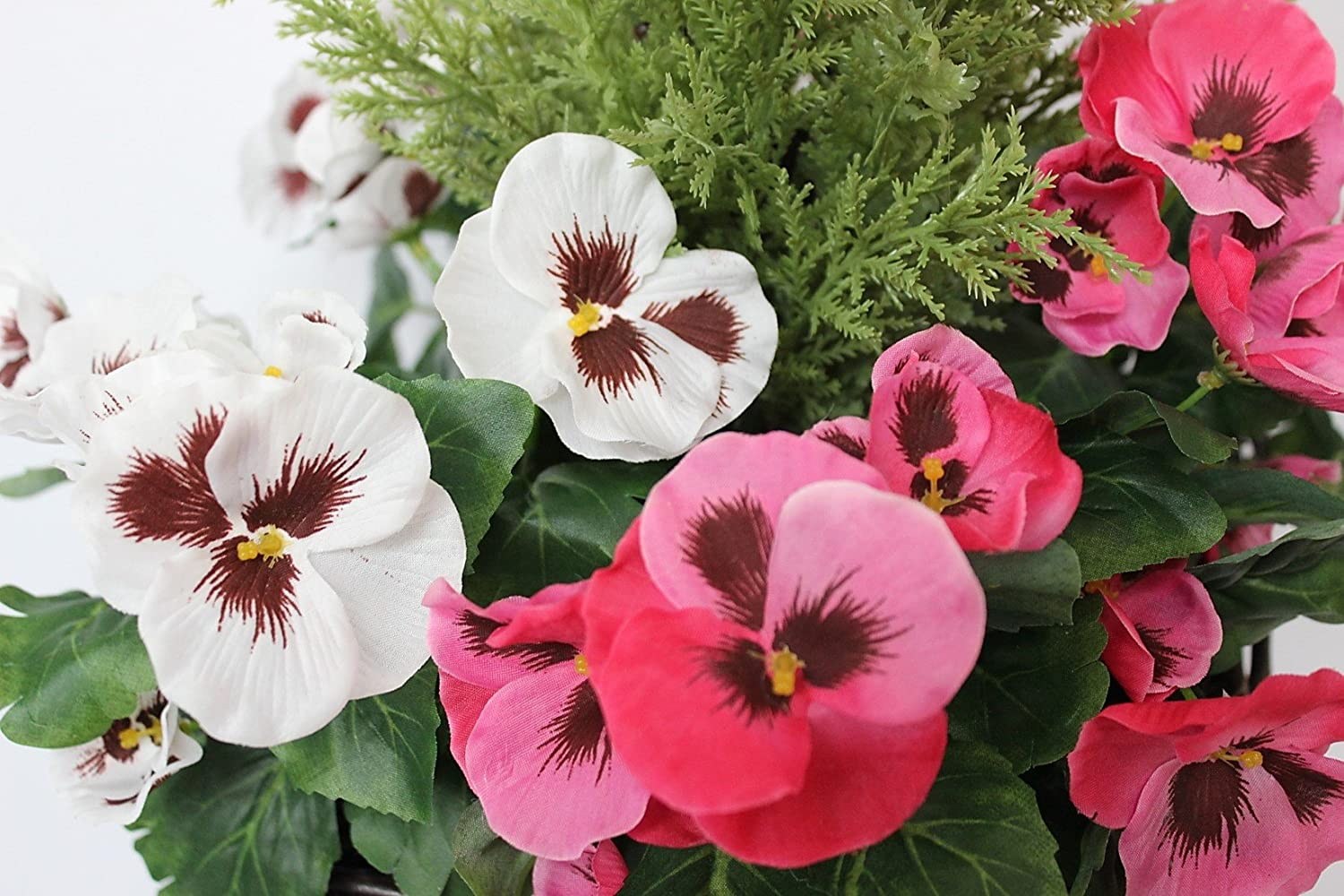Artificial Patio Planter with Pink /& White Pansies /& Conifer//Cedar Topiary in Black Pot 60cm