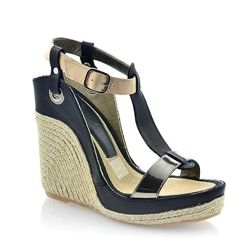 Boutique en ligne 6b211 da930 MTBALI - Espadrille Wedge Sandals, Woman- Model Nor Black ...