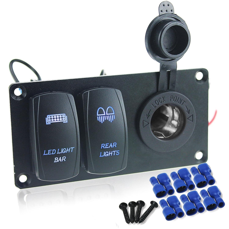 IZTOSS Waterproof DC 12V 24V Aluminum Panel with blue rocker switch(Led light bar&Rear light) and 3.1A USB port Socket and installation kits for Marine Car boat ATV