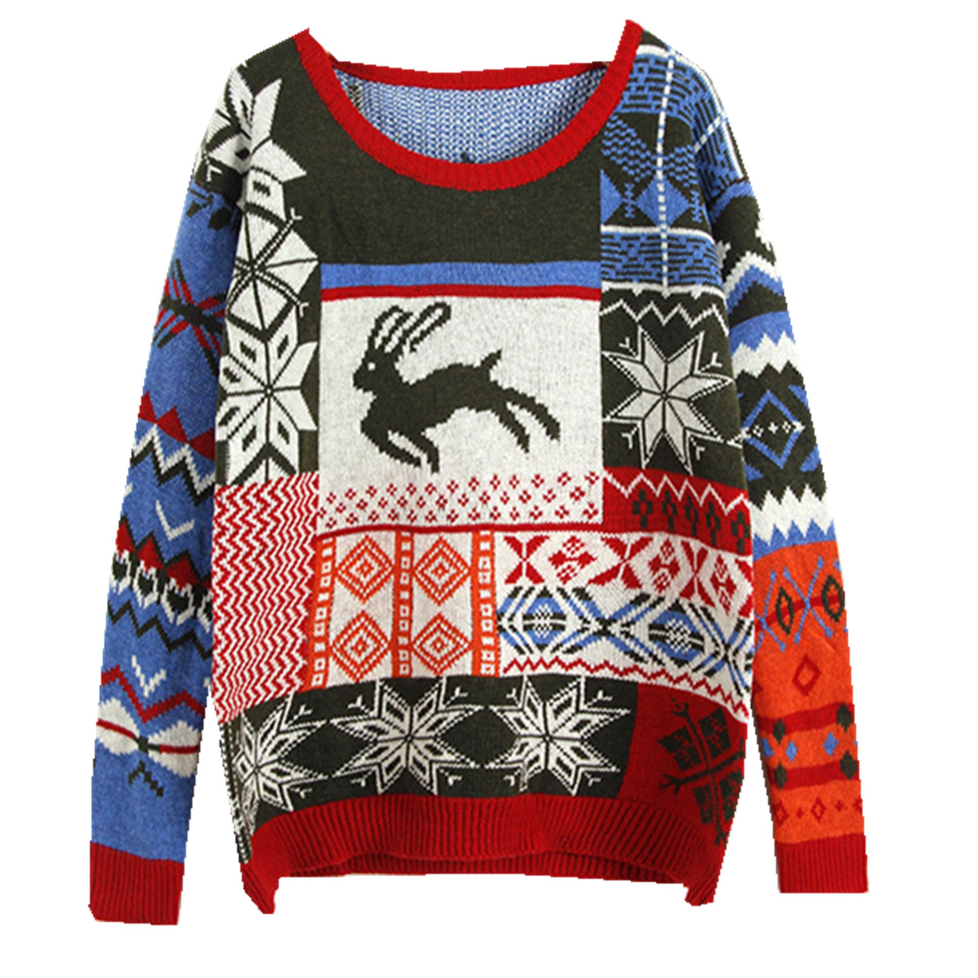 Taiduosheng Girls Ugly Christmas Sweater Print Reindee jumper Xmas Gift Pullover Knit sweater (Fit XS-L) red green