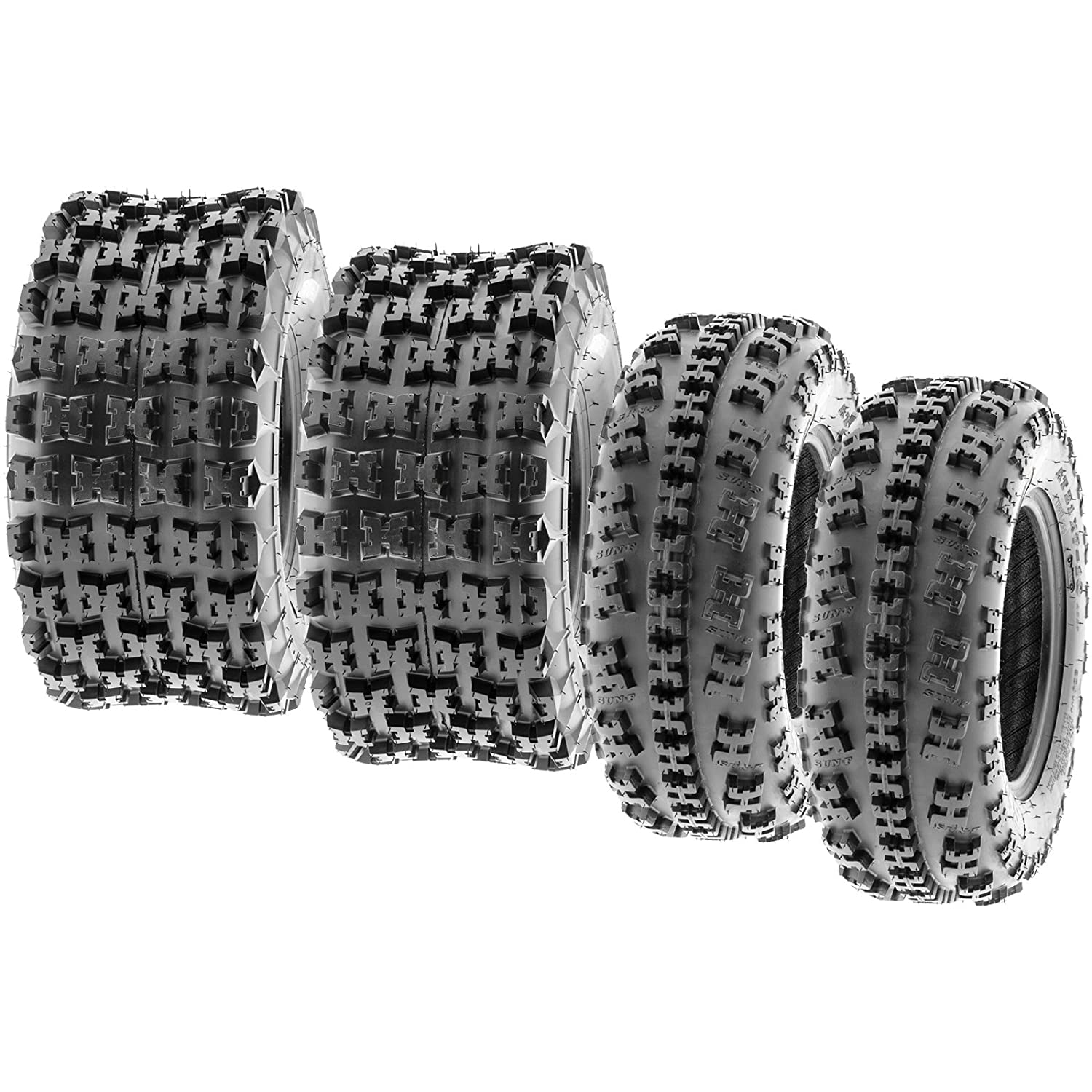 Set of 4 SunF A027 XC 22x7-10 Front & 22x10-9 Rear ATV UTV Knobby Sport Tires, 6 PR, Tubeless