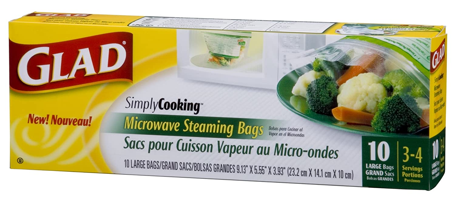 Glad SimplyCooking Microwave Steaming Bags, Large, 10-Count Packages (Pack of 10)