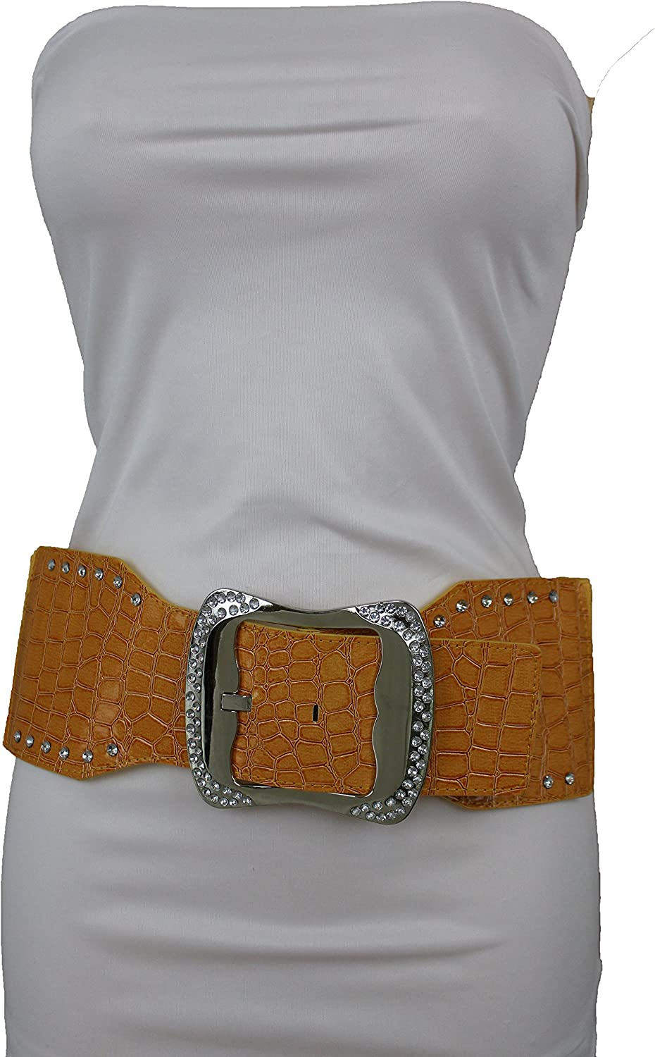 Women Pink Faux Leather Wide Casual Fashion Fun Belt Big Silver Metal Buckle S M
