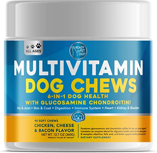 Ready Pet Go Dog Multivitamin – Glucosamine for Dogs – Immune Support for Dogs, Skin and Coat, Hip and Joint Dog Vitamins and Supplements – Vitamins for Dogs – 90 Dog Supplements