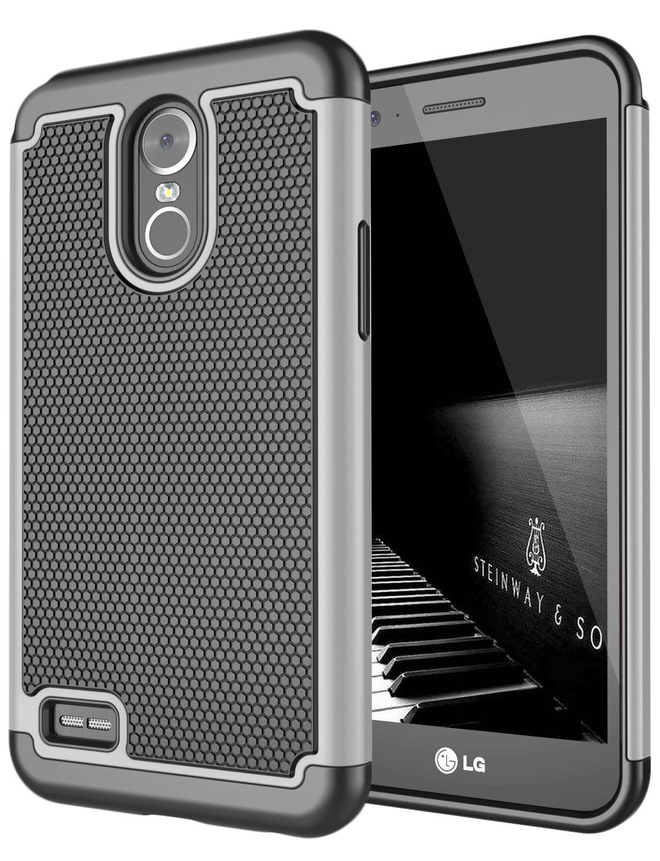 LG Stylo 3 Case, LG Stylo 3 Plus Case, Jeylly Dual Layer Hybrid Hard Back Soft Silicone Raised Edge Shock Absorption Scratch Proof Protective Case For LG Stylo 3/Stylus 3/Stylo 3 Plus 2017 - Grey