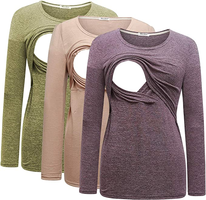 Bearsland Womens 3 Packs Maternity Nursing Tops Short Sleeve Breastfeeding Shirts