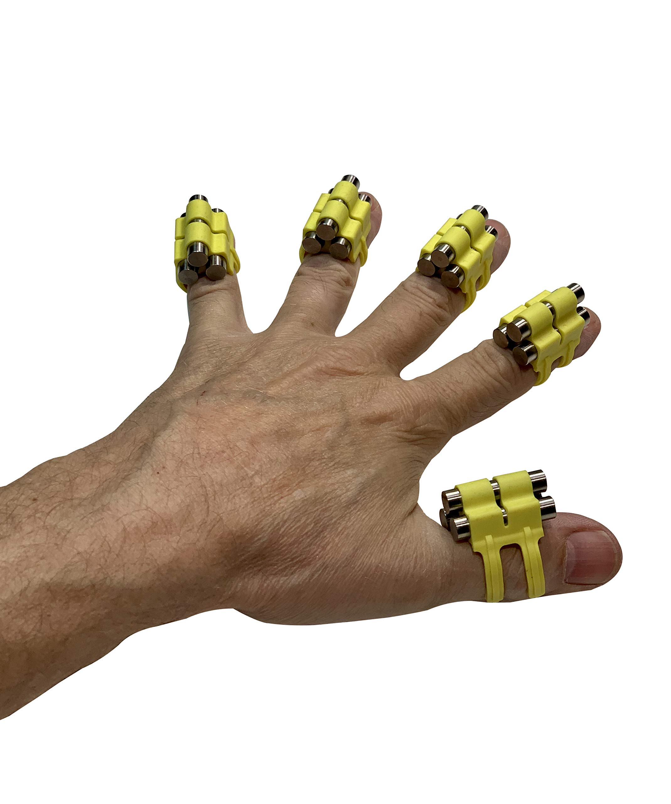 Finger Weights Original - Set of 5 - for Music Sports Gamers and Health Black or Multicolor Grip Strength Hand Grip Strengthener Speed Trainer (Yellow)