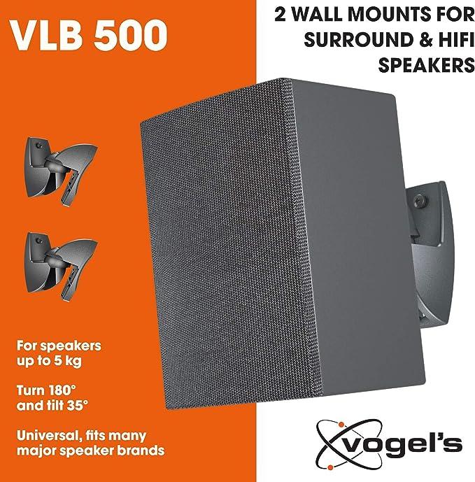 Max Noir 2x Vogel/'s VLB 200 Support Mural Réglable pour enceintes Noir