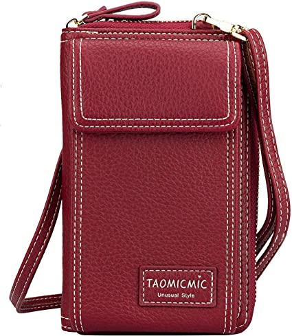 Women Crossbody Bags Cell Phone Purse Shoulder Travel Bags Girls Stylish Smartphone Wallet Under 6.5 Inch Wine red
