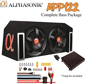 "ALPHASONIK APP122 Complete 1500 Watts Dual 12"" Subwoofers Car Bass Package with Amplifier and Installation Kit Included - 2 Sub Woofers with Grills in Custom Ported Box Loaded Enclosure, Black"