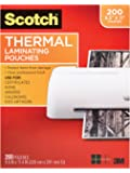 Scotch Thermal Laminating Pouches, 8.5 x 11-Inches, 3 mil thick, 200-Pack (TP3854-200),Clear