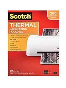 Scotch Thermal Laminating Pouches, 8.9 x 11.4-Inches, 3 mil thick, 200-Pack, Clear (TP3854-200)