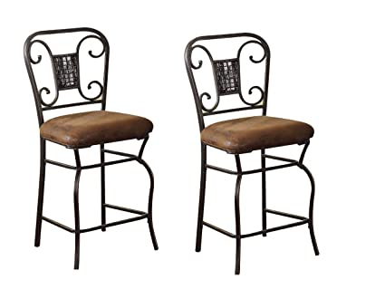 Bon ACME 96060 Set Of 2 Tavio Counter Chair, 24 Inch