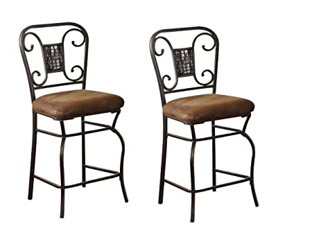 ACME 96060 Set of 2 Tavio Counter Chair, 24-Inch