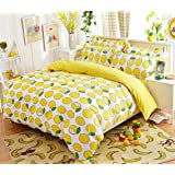 Mumgo Lightweight Polyester Microfiber Duvet Cover Set For Adult, Whtie Background Lemon Print Bedding Set For Kids (Queen size-4pc (no comforter or filling))