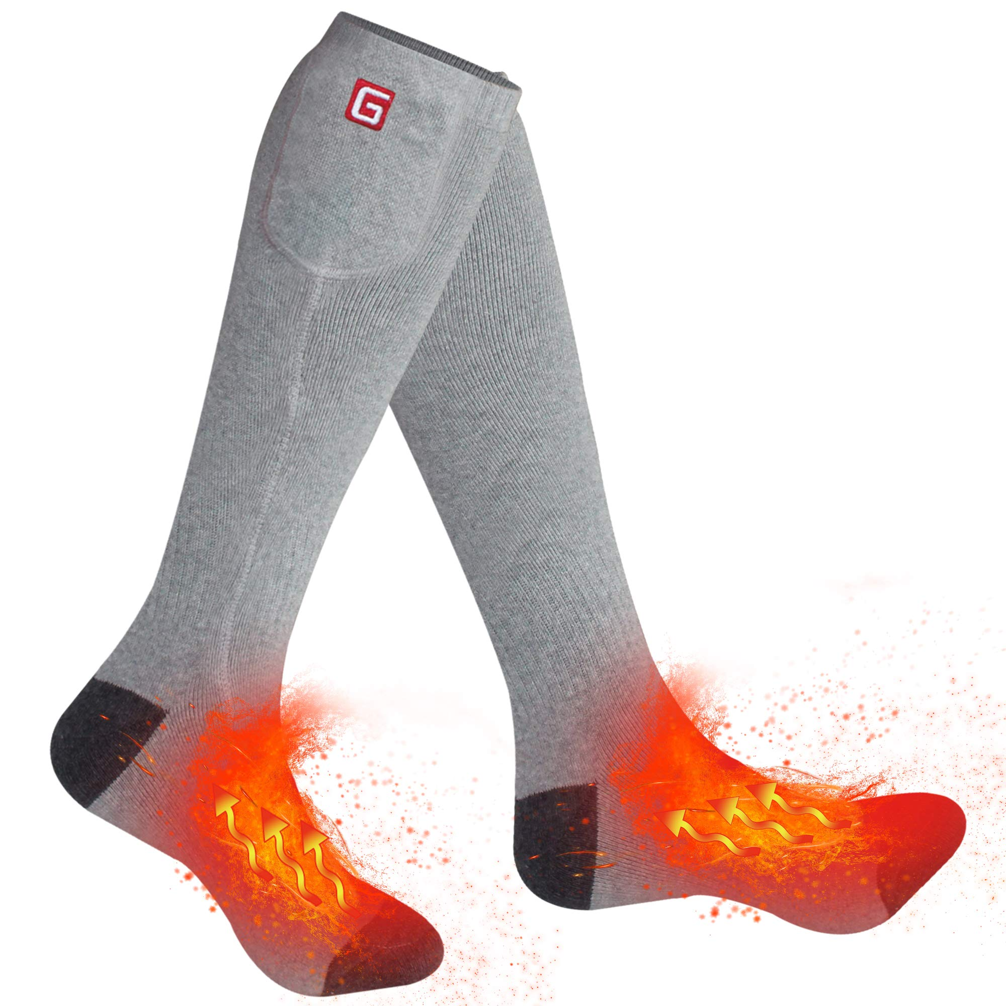 Autocastle Rechargeable Electric Heated Socks,Men Women Battery Powered Heated Socks Kit,Winter Warm Thermal Heated Socks for Chronically Cold Feet,Novelty Sports&Outdoors Camping Socks (Grey) by Autocastle