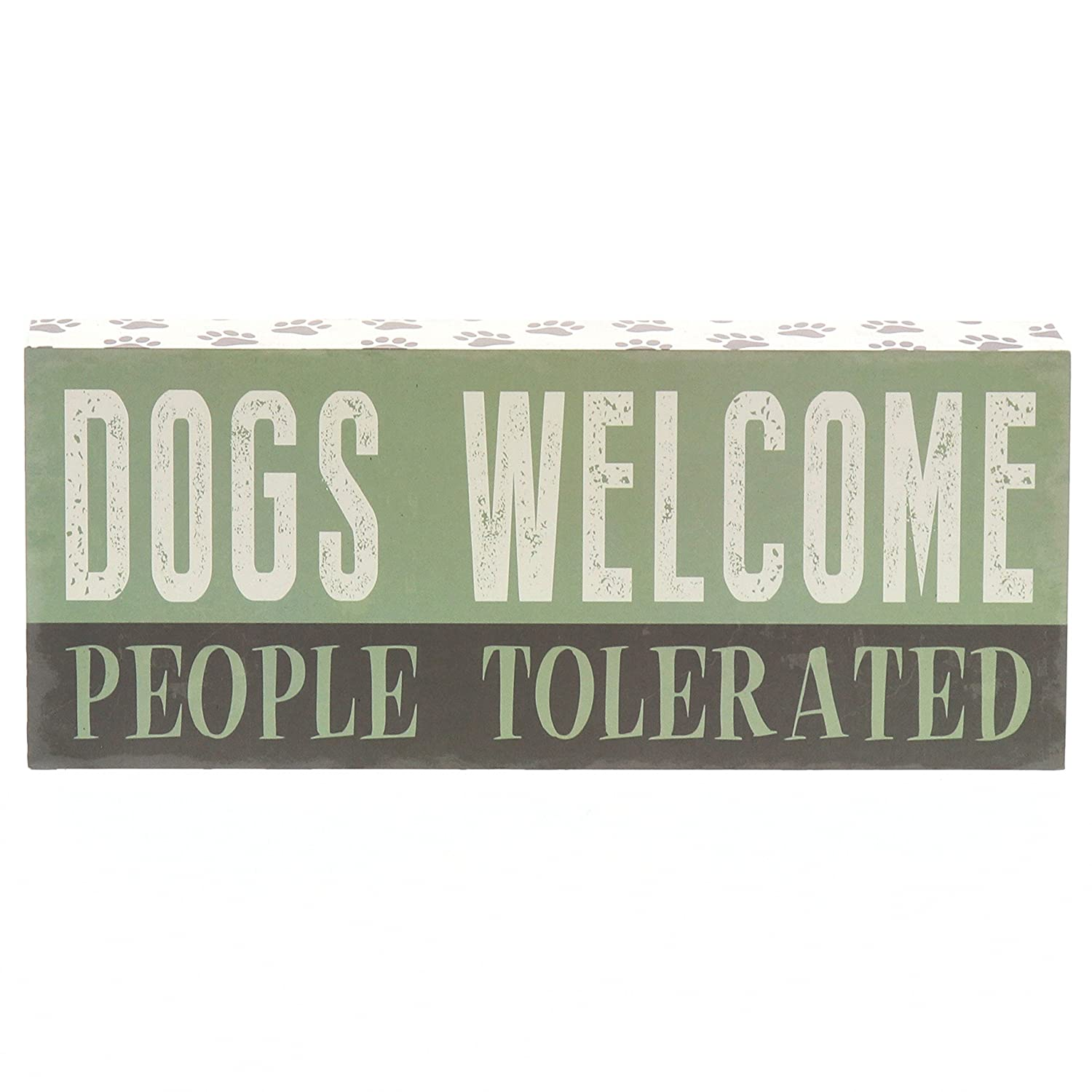 """Barnyard Designs Dogs Welcome People Tolerated Box Wall Art Sign, Primitive Country Farmhouse Home Decor Sign with Sayings 12"""" x 5"""""""