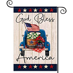 LARMOY God Bless America Garden Flags for Outside,12×18 Double Sided Blue Truck with Flower Patriotic Stars,Small Memorial Day Yard Flag, Welcome 4th of July Independence Day Outdoor Farmhouse Decors
