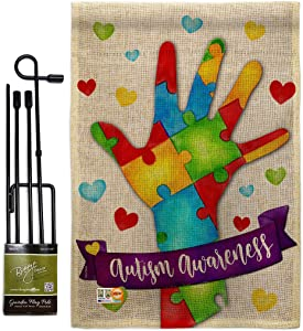 Support Autism Garden Flag - Set with Stand Awareness Inspirational Survivor Ribbon Prevention Cancer Breast BLM - House Decoration Banner Small Yard Gift Double-Sided Made in USA 13 X 18.5