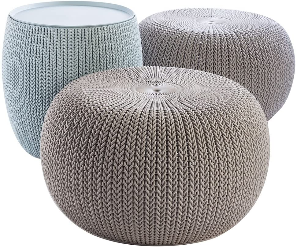 Keter Urban Knit Pouf Ottoman Set of 2 with Storage Table for Patio and Room Décor-Perfect for Balcony, Deck, and Outdoor Seating, Dune/Misty Blue : Garden & Outdoor