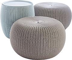 Keter 228474 Urban Knit Pouf Set, Dune/Misty Blue