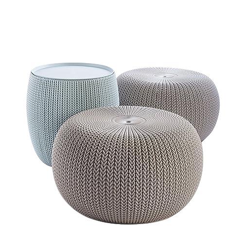 Keter 228474 Urban Knit Pouf Set, Misty Blue/Taupe