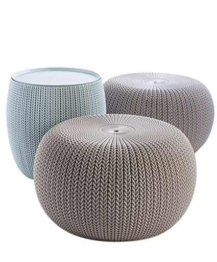 Amazon.com: Keter 228474 Urban Knit Pouf Set, Misty Blue/Taupe ...