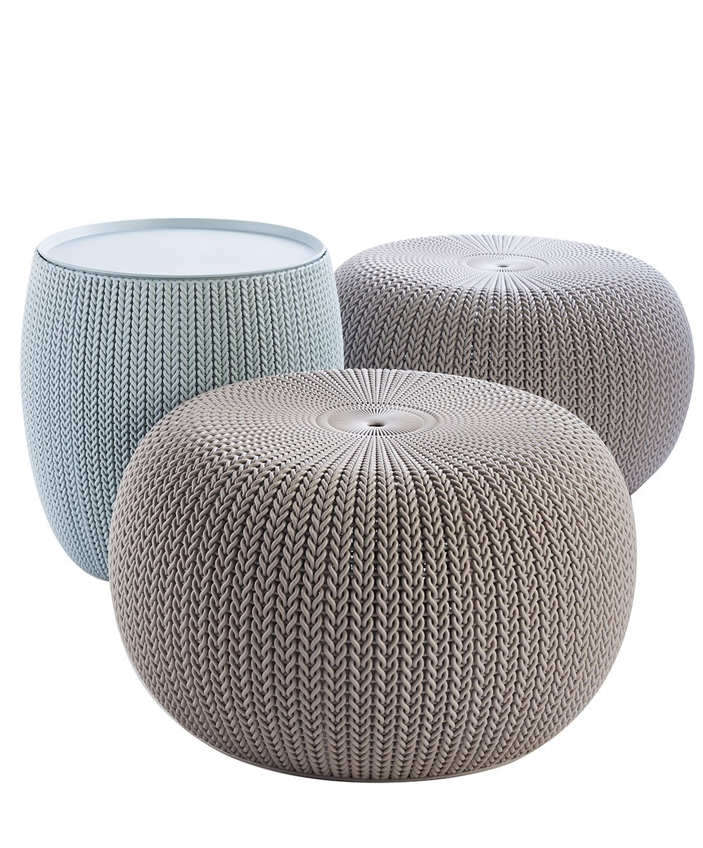 Keter 228474 Urban Knit Pouf Set, Misty Blue/Taupe by Keter