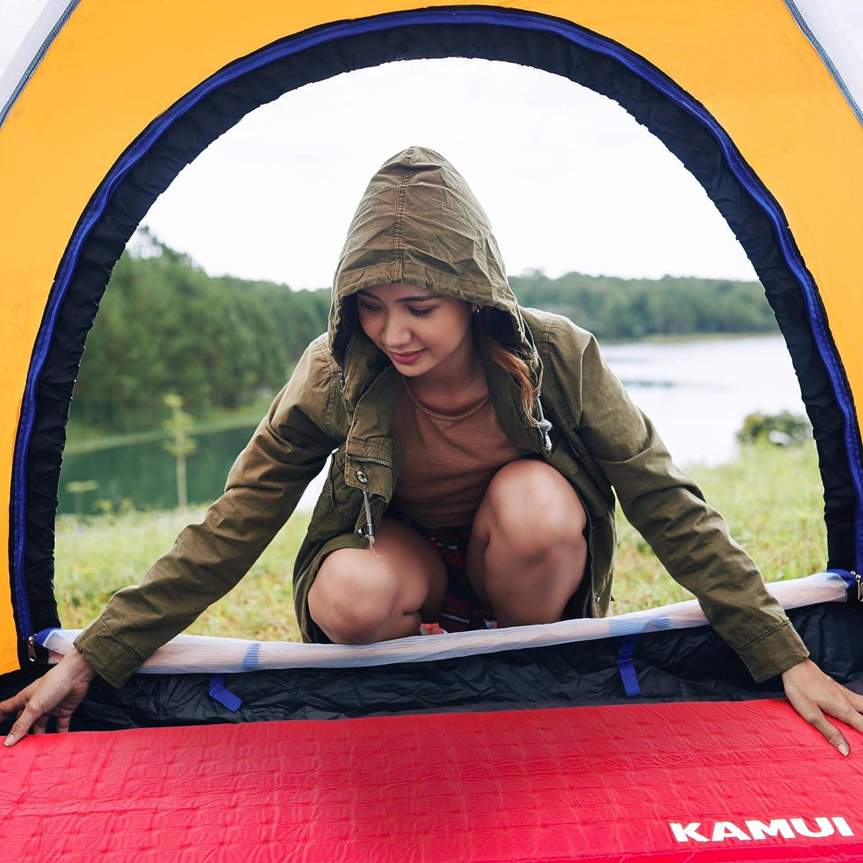 KAMUI sleeping pad red woman using
