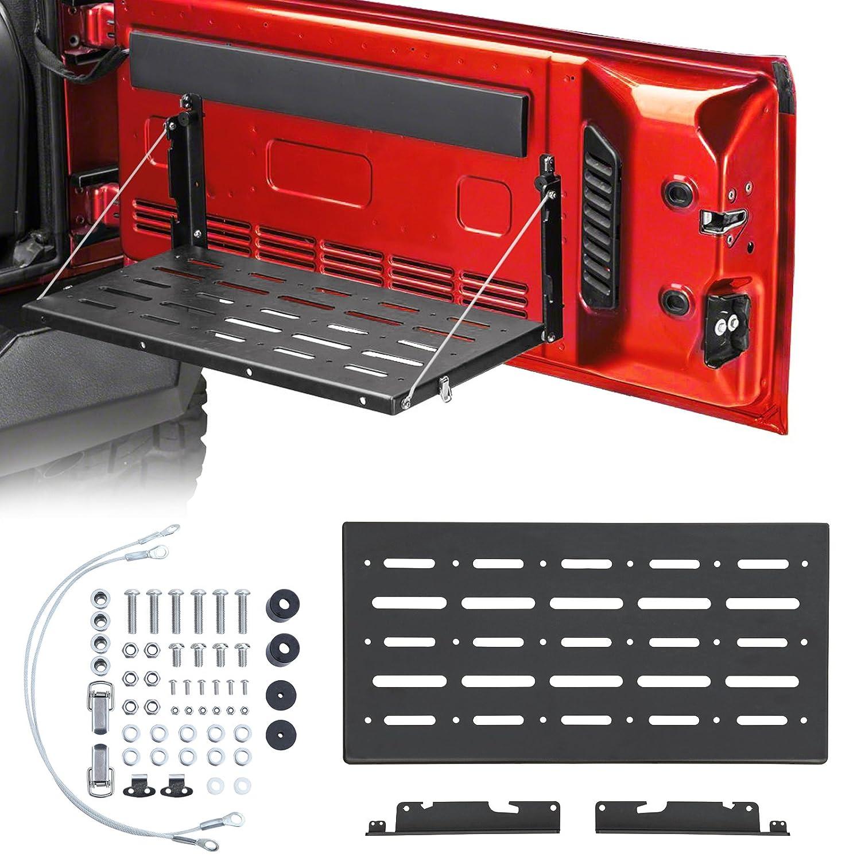 Haitzu Tailgate Table Support up to 80lb Fit for Jeep Wrangler JK 2/4 door Aluminum Alloy Matte Black