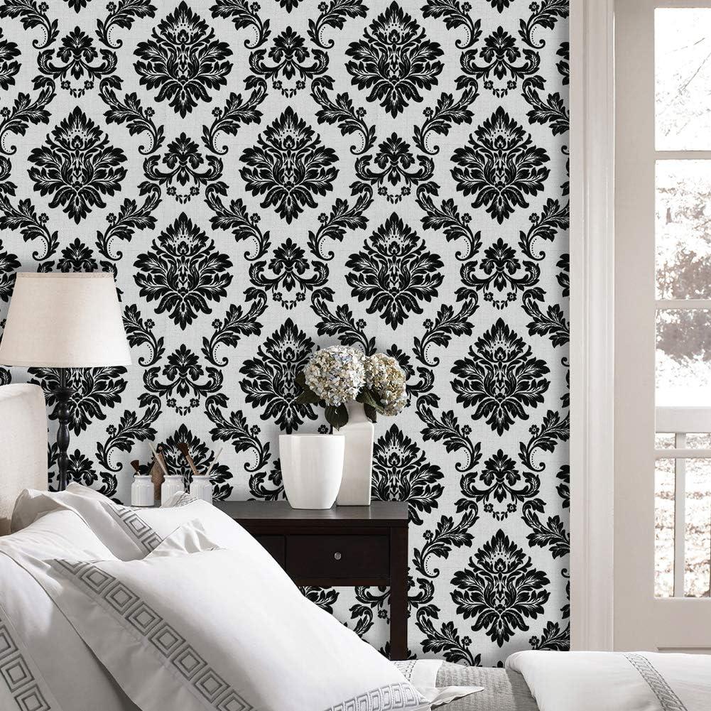 Jz Home 5333 Luxury Damask Wallpaper Rolls Silver White Black