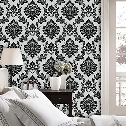Jz Home 5333 Luxury Damask Wallpaper Rolls Silver White Black Embossed Texture Victorian Wall Paper Home Bedroom Living Room Hotels Wall Decoration