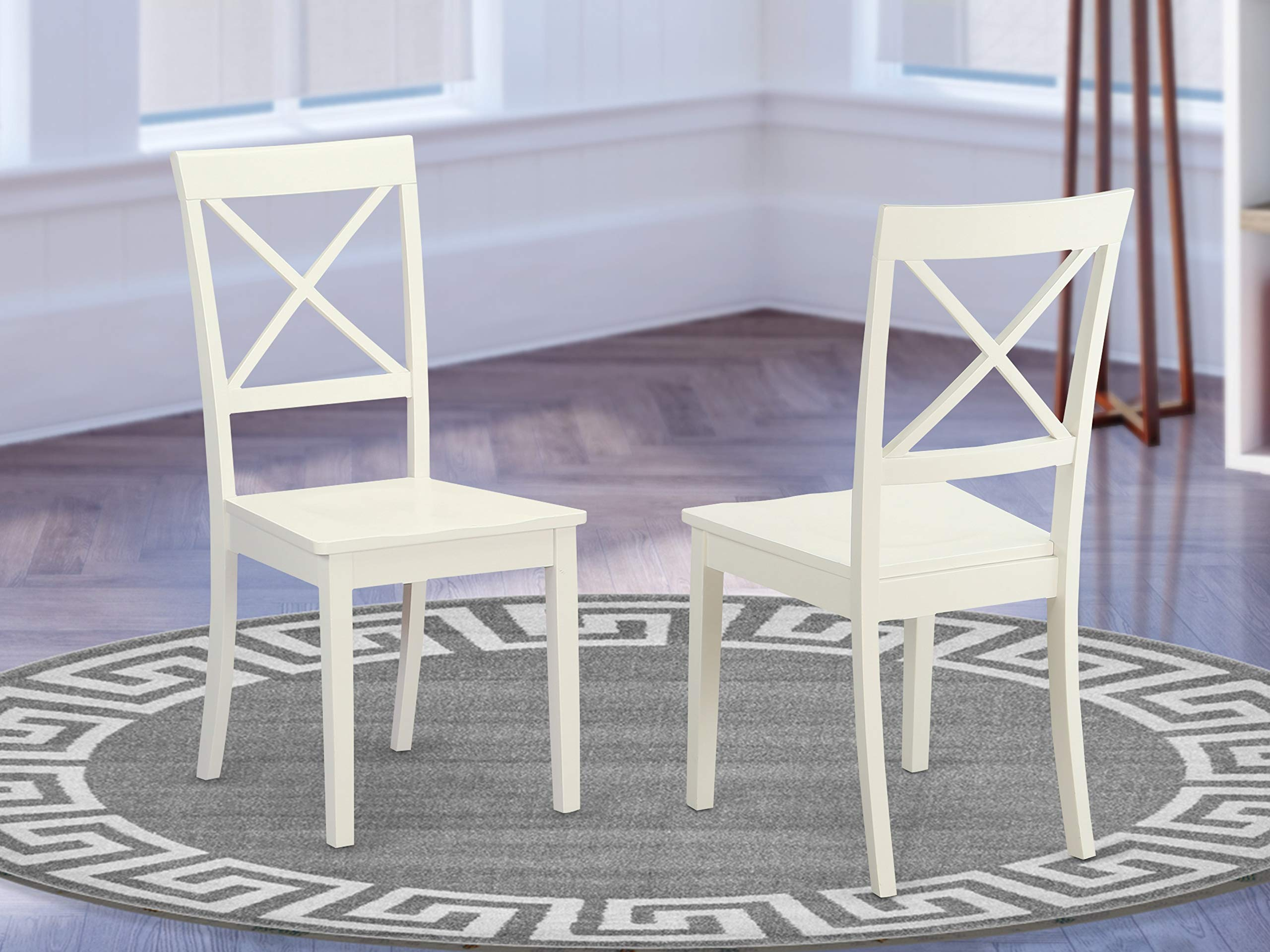 East West Furniture BOC-WHI-W X-Back Chair Set for Dining Room with Wood Seat, Set of 2 by East West Furniture